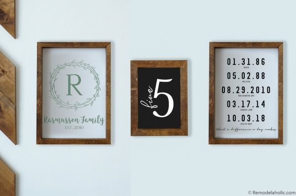 Family Gallery Wall Bundle Family Name Monogram, Number, Important Dates #remodelaholic