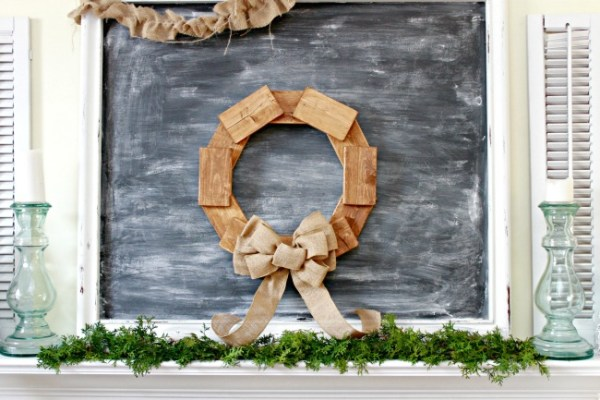 A winter wreath can really add to you home during the long winter months like this scrap wood wreath