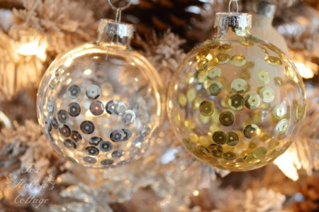 Sequin Ornaments - Try these 35+ DIY ideas for clear glass ornaments to add precious memories and lots of spirit to your Christmas tree! from @tipsaholic #ornaments #diy #christmas