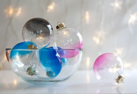 Ombre Glass Ornaments - Try these 35+ DIY ideas for clear glass ornaments to add precious memories and lots of spirit to your Christmas tree! from @remodelaholic #ornaments #diy #christmas