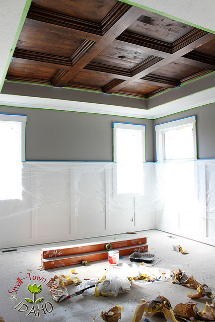 DIY Stained Wood Ceiling