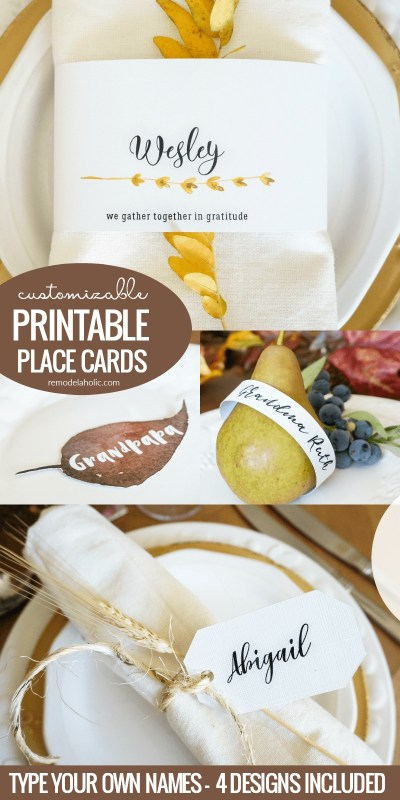 Thanksgiving Printable Place Cards For Custom Printed Name Cards #remodelaholic