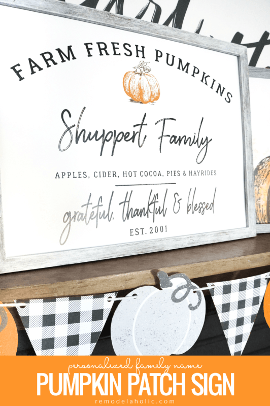 Printable Personalized Family Name Pumpkin Patch Sign And Watercolor Pumpkin Art Set #remodelaholic