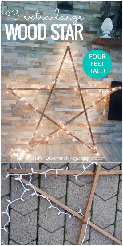 Diy Extra Large Wood Star With Lights For Christmas Decor Remodelaholic