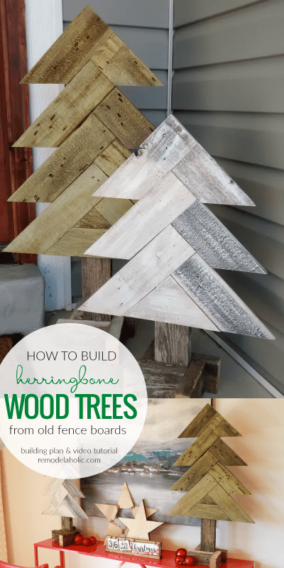 How To Build DIY Rustic Herringbone Wood Christmas Trees From Old Fence Boards @Remodelaholic