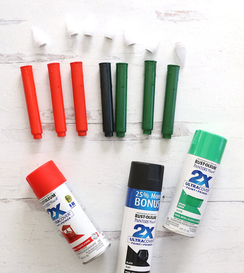 Kwanzaa candles with spray paint