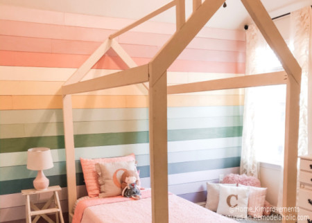 Kids Bedroom Wall Rainbow Shiplap With DIY House Bed Frame, Home Kimprovements For Remodelaholic Feature