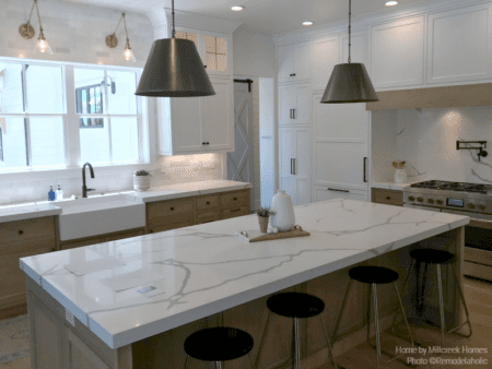 Large Marbled Kitchen Island In Modern Farmhouse Kitchen Millhaven Homes And Four Chairs Design 2018 Utah Valley Parade Of Homes Featured On Remodelaholic