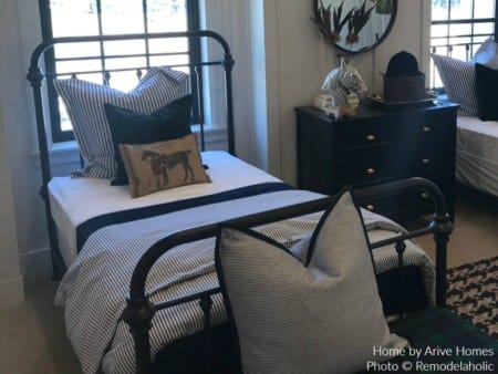 Classic Metal Bed Frame For Boys Room In Modern Farmhouse Style, Arive Homes And Brandalyn Dennis Design, 2018 Utah Valley Parade Of Homes, Featured On Remodelaholic